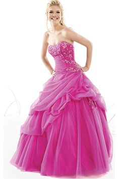 Charming Fuchsia Natural Tulle Ball Gown Prom Dresses