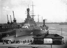 15 in battlecruiser HMS Renown in Auckland, New Zealand in 1924. Heavily modernised in the 1930s (unlike her sister Repulse), she was the only battlecruiser remaining in Royal Navy service after 1941, when both Repulse and the larger HMS Hood were sunk. Widely known as 'the largest destroyer in the fleet', she had a distinguished WW2 career.