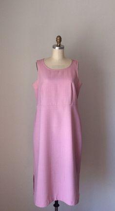 Petal Pink Shift Dress w/ empire waist // Pastel Pink Plus Size Vintage 80s sleeveless dress // Oversized size 14 Bubblegum Pink dress on Etsy, $30.00