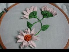 Hand Embroidery beautiful mirror flower designs and picot stitch work - YouTube