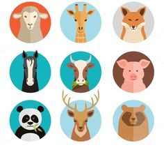 Set of vector animal icons with a sheep horse deer coe giraffe raccoon pig koala and squirrel in a depiction of both wildlife farm animals and domestic pets