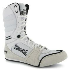 Lonsdale Cyclone Leather Mens Boxing Boots White Black Shoes Fight Training  New 6ec86e2e8