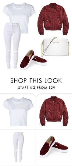"""""""Simple white and maroon with bomber jacket"""" by dessyaramadhanti ❤ liked on Polyvore featuring RE/DONE, Topshop and Michael Kors"""