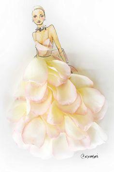 Gwyneth Paltrow—16 Iconic Oscar Dresses Reimagined as Flower Girl Illustrations