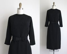 1960s Party Dress / Vintage 1960s Dress / Black Rayon Cocktail