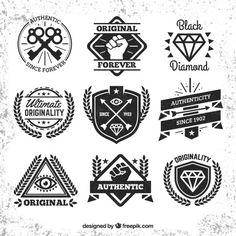 Colección de escudos hipster Vector Gratis