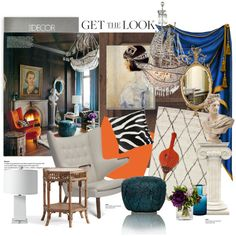 Elle decor eclectic look... by gloriettequartet on Polyvore featuring interior, interiors, interior design, home, home decor, interior decorating, Modernica, Pottery Barn, Serena & Lily and nuLOOM