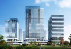 Futuristic Architecture, Contemporary Architecture, Architecture Design, Glass Curtain Wall, Shenzhen China, Apartment Complexes, Minecraft Projects, High Rise Building, Future City