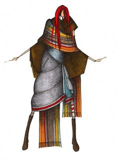 My fashion designer friend, Julie Tierney, made some sweet nomadic-inspired clothes that rock.  Her illustrations rock, too.