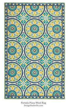Portola Plaza Wool Rug. Mediterranean tile motifs in a soothing aqua rug. 100% wool. Transitional rugs, DesignNashville