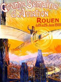 Rouen France French Aviation Scene Large Vintage Travel Poster Repro Free s H | eBay