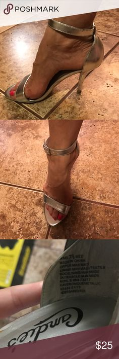 Silver metallic Candie's  heels Size 7 1/2.  Gently used with signs of normal wear and tear.  3 inch heels. Candie's Shoes Heels