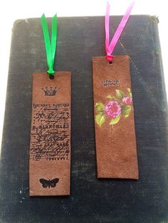 Leather Bookmarks Life Is Good Rose Crown Script Butterfly Unique Book Lover Gift     on Etsy, $20.00