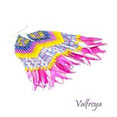 Neonowe długie boho kolczyki - Kolczyki - Biżuteria artystyczna