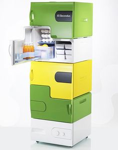 energy saving stackable Lego-brick-alike FRIDGES were designed by Stefan Buchberger, a student at the University of Applied Arts in Vienna -  pratique en colocation ..........