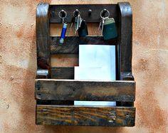 Rustic Key Holder, Mail Organizer, Bathroom Rack, Multipurpose Holder, Wooden Kitchen Organizer, Rustic, Upcycled Pallet Wood
