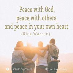 #peace #God #others #heart #Rick_Warren #christmas #Natal #sabdanatal Rick Warren, Peace, God, Memes, Christmas, Movie Posters, Yule, Dios, Navidad