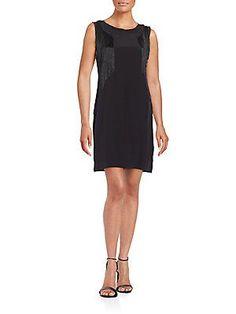 Rebecca Taylor Sleeveless Fringe Jersey Dress - Black - Size