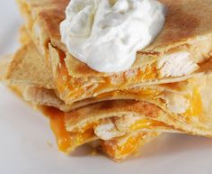 Weight watchers chicken quesadillas, mmm.