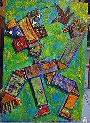 Basic shapes with scrap cardboard, oil pastel/paint