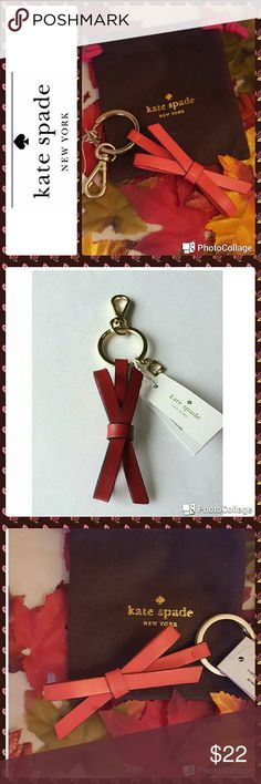 NWT. Kate Spade Red Leather Bow Key Ring NWT.  Kate Spade key ring. Red leather bow charm key fob with Spade logo. 1.3 x 0.5 x 4.7 inches. 14 karat gold plated key ring. Comes with bag. kate spade Accessories Key & Card Holders