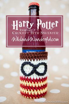 """It's Harry Potter month for us and I am kicking off my tutorials with this cutiepie! Why beer sweater, you ask? Did you know that the word """"koozie"""" is copyrighted…along wit… Crochet Coffee Cozy, Crochet Cozy, Crochet Beanie Pattern, Crochet Gifts, Free Crochet, Crochet Ideas, Crochet Projects, Crochet Things, Tricot"""