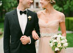 adore this Reem Acra blush pink wedding dress