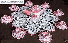 New True Pink Teapot Cups Saucers Crochet Doily - PERFECT!!