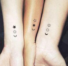 Small Moon Tattoos, Tattoos For Women Small, Tattoos For Daughters, Sister Tattoos, 3 Friend Tattoos, Siblings Tattoo For 3, Small Tattoos For Sisters, Bff Tats, Mom Daughter Tattoos
