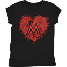 Miami Marlins Girls Short Sleeve Graphic Tee, Size: 6/6X, Black