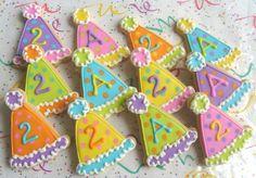 Pastel Birthday Hat Cookies