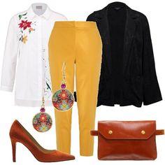 Look caratterizzato da motivi floreali. Si partire dalla camicia bianca, con fiori ricamati, passando per la giacca, monotono, ma con fiori tessuti nella stoffa, e si arriva agli orecchini, a ciondolo. Il pantalone, giallo, porta il sole in questo outfit primaverile. La scarpa décolleté, arancio, come la particolare cintura a marsupio.