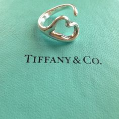 Tiffany Elsa Peretti® Open Heart ring Sterling silver, authentic. Price is firm, NO paypal or NO Trades. 10% Discount given on bundles only.  No Holds  size 6. Tiffany & Co. Jewelry Rings