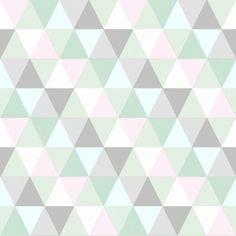 (Hinta €/RLL) Esta Home Everybody Bonjour -tuotesarjan Triangles Pink, Mint & Grey-tapetti, koko: 53 cm x m. Triangles-tapetissa on upeat pinkin, mintu Green Soap, Design Repeats, Designers Guild, Home Wallpaper, Vintage Labels, Kidsroom, Girl Room, Triangles, Bedrooms