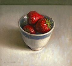 Jos van Riswick, (contemporary artist) Still life with cup with strawberries, May 9, 2010, 18x17.5cm