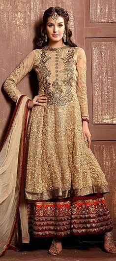 BRIDAL WEAR - check out the new series of #anarkali gowns for brides. Order at flat 15% off + free shipping. #India #IndianWedding #IndianFashion #Beige #Layering #Salwarkameez #partywear #women #Ethnicwear