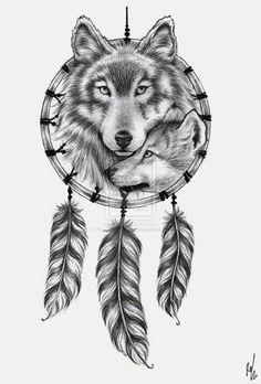 Wolf Dreamcatcher tattoo design by ~RozThompsonArt on deviantART