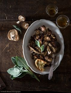 Mushrooms and Sage with Grilled Bread | Food Photography | Food Styling | Prop…