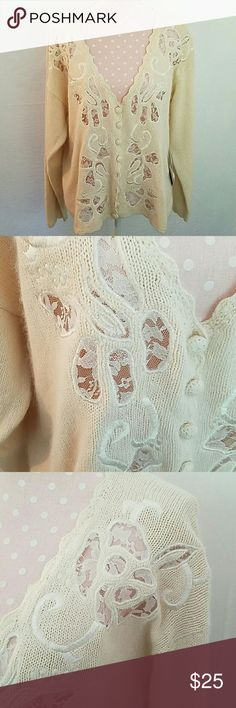 Happily ever after Beautiful cream soft and fuzzy cardigan. It's made of silk, angora and lamb's wool. NWT. marie y Sweaters Cardigans