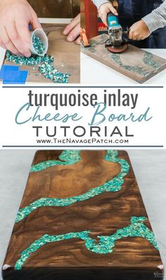 In this tutorial, I will show you how to make a cheese board with turquoise inlay. I'll also teach you how to make your own crushed turquoise from raw ore. Projects How to Make a Cheese Board with Turquoise Inlay - The Navage Patch Pot Mason Diy, Mason Jar Crafts, Diy Resin Art, Diy Resin Crafts, Pierre Turquoise, Diy Inspiration, Wie Macht Man, Diy Patches, Diy Home Decor Projects