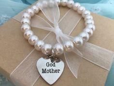 "BRACELET w/ ""God Mother"" charm. Gift for God Mother, God Mother Pearl Charm Bracelet, baby's christening, baptism, baptism gift, God parents by KimsCraftAttic on Etsy"