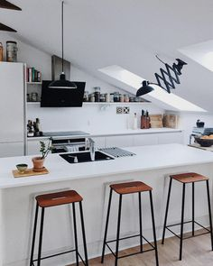 15 Small Space Hacks To Learn From a Beautiful Danish Home – Wohnidee by WOONIO 15 Small Space Hacks To Learn From a Beautiful Danish Home – Wohnidee by WOONIO,Küche my scandinavian home: Penthouse Apartment, Attic Apartment, Small Apartments, Small Spaces, Küchen Design, House Design, Design Ideas, Sweet Home, Appartement Design