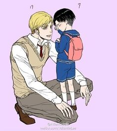 Erwin and Levi-THIS!!! This is exactly how I see their relationship! So adorable. :) (Although I don't believe Erwin is that close to Levi in age...)