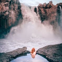 Aldeyjarfoss waterfall - situated in the north of Iceland at the northern part of the Sprengisandur Highland Road   @dreamingandwandering   Visit