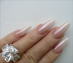 sculptured acrylic with young nails metallic pearl acrylic, cover pink & crystal glitter, joss magic mauve fx chrome. Red Chrome Nails, Chrome Mirror Nails, Chrome Nail Art, Silver Glitter Nails, Metallic Nails, Gold Chrome, Cute Acrylic Nails, Sculptured Acrylic Nails, Luminous Nails