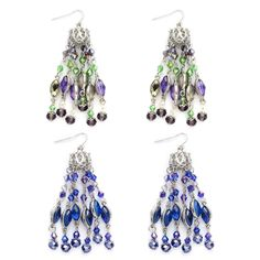 Blue and Multi Color Glass Set of 2 Earrings in Silvertone and Stainless Steel