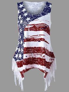 American Flag Print Fringe Tank Top