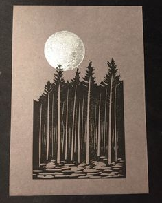 Black Lino cut tree silhouette with silver moon on grey card. Original art by Dario Fisher on Etsy