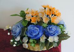 Handmade Nylon Flower Arrangement by LiYunFlora on Etsy, $38.00