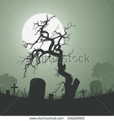 ... tree inside graveyard with tombstones and a full moon in the